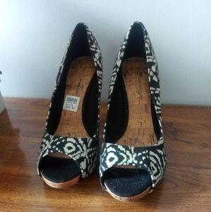 Peep toe Cork style heels